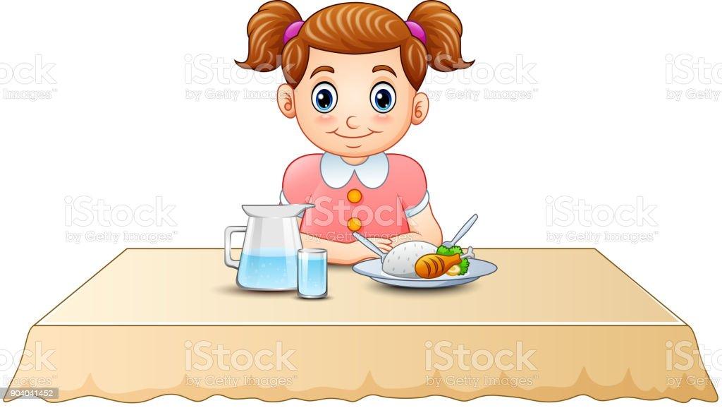 petite fille dessin anim mignon manger sur la table. Black Bedroom Furniture Sets. Home Design Ideas