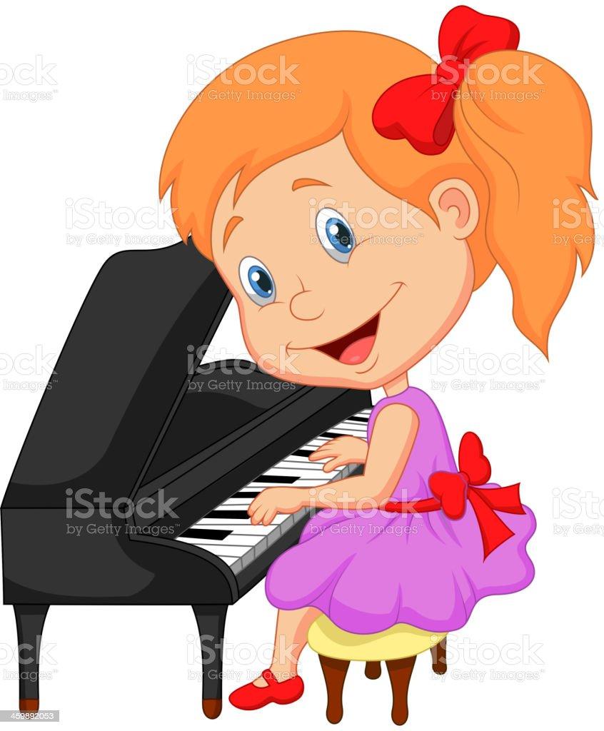 Mignonne Petite Fille Dessin Animé Jouant Piano Vecteurs
