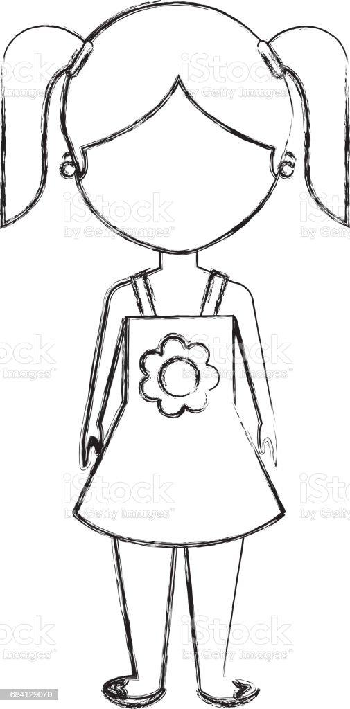 cute little girl character cute little girl character - immagini vettoriali stock e altre immagini di abbigliamento casual royalty-free