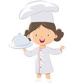Cute little girl chef