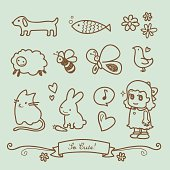 Cute Little Girl Doodle Drawings: Puppy, fish, flowers, sheep, bee, butterfly, bird, kitty, bunny, heart, and a little girl.