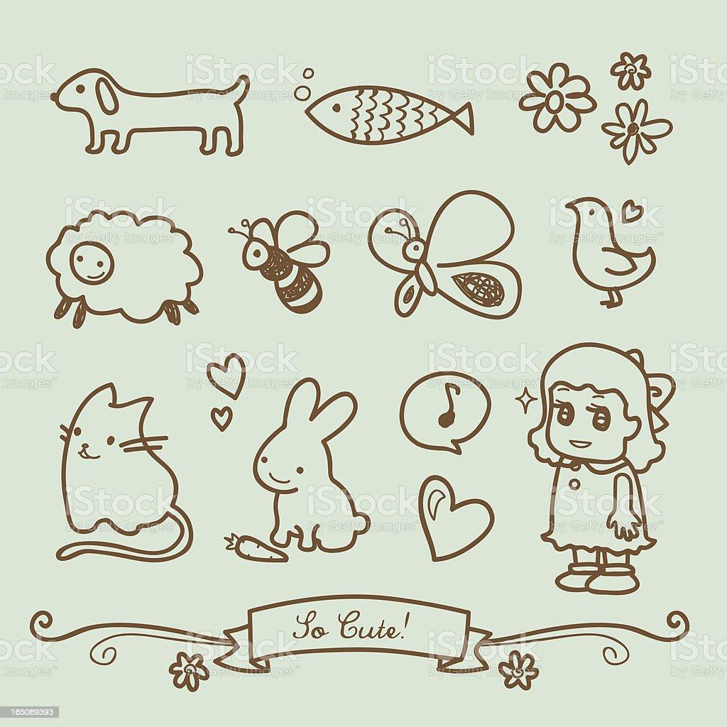 Niedliche kleine Mädchen Doodle Zeichnungen – Vektorgrafik