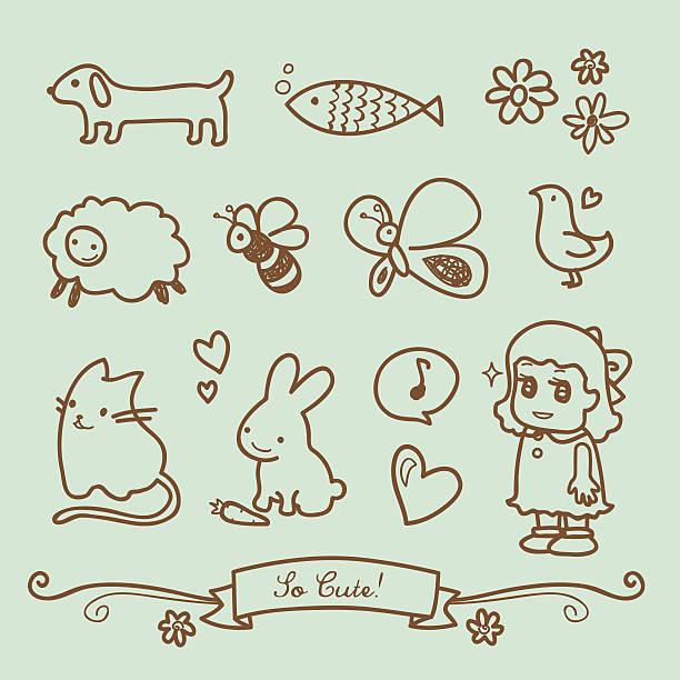 bildbanksillustrationer, clip art samt tecknat material och ikoner med cute little girl doodle drawings - animal doodle