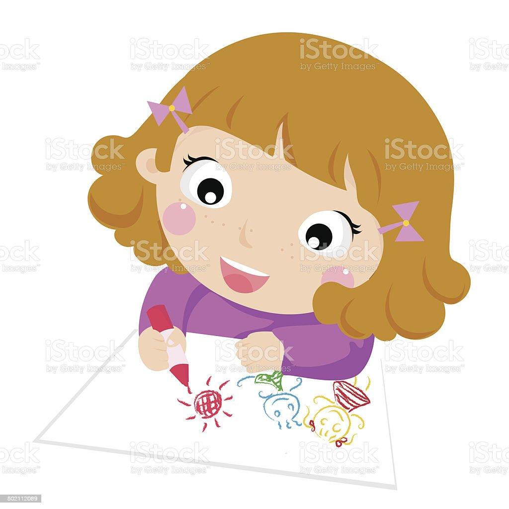 かわいい小さな女の子イラスト絵画 お絵かきのベクターアート素材や