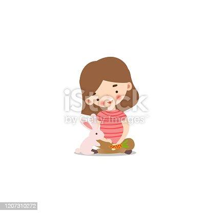 istock Cute little girl feeding rabbit with a carrot. Raster illustration in flat cartoon style 1207310272