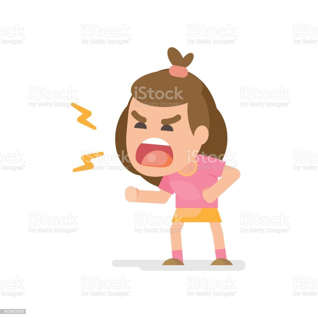 Cute Little Girl Gets Mad Angry Fighting And Shouting Expression Vector Illustration Stock Illustration Download Image Now Istock