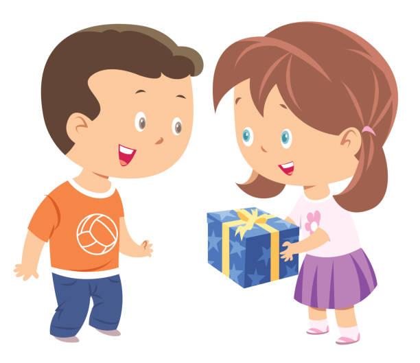 illustrazioni stock, clip art, cartoni animati e icone di tendenza di cute little girl giving present to a boy - compagni scuola