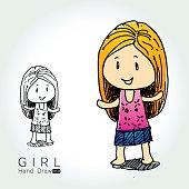 Cute Little Girl hand draw