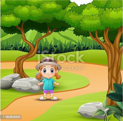 Cute little girl having fun in the road