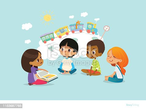 Cute little girl holding book and telling story to her friends sitting around on floor and imagining animals traveling on train. Smiling children listening to fairy tale. Cartoon vector illustration