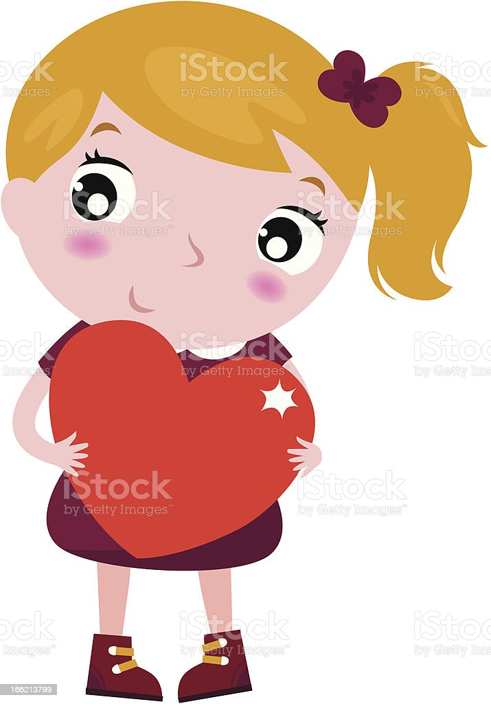Cute little girl holding red heart isolated on white royalty-free cute little girl holding red heart isolated on white stock vector art & more images of beautiful people