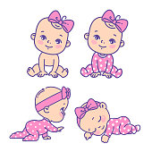 Collection of vector stickers of little baby girl in pink pajamas, bow, diaper. Child sleeping, sitting, crawling. Emblem of kid health. Vector color illustration.