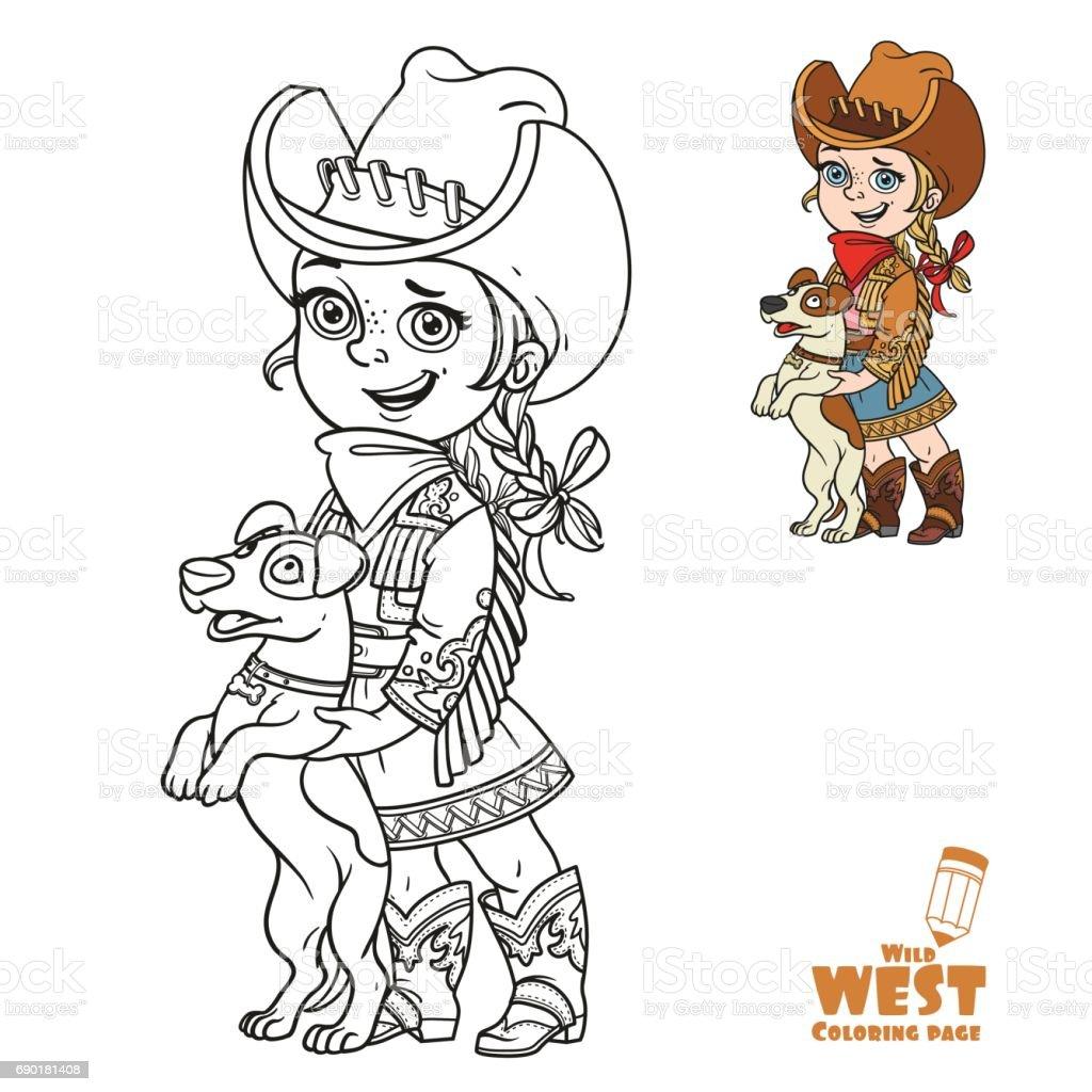 Coloriage Fille Bouclee.Mignonne Petite Fille En Costume De Cowboy Jouant Avec Un