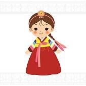 Cute little girl in Korean traditional costume