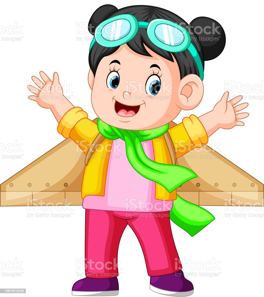 21f311885f Cute Little Girl In Pilot Glasses Playing With Wings Stock Vector ...