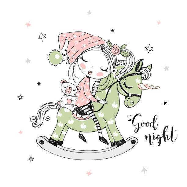 ilustrações de stock, clip art, desenhos animados e ícones de a cute little girl is sleeping sweetly on a unicorn toy horse. vector - unicorn bed