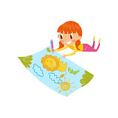Cute little girl lying on her stomach and drawing with color pencils on the large sheet of paper, young artist, kids activity routine vector Illustration isolated on a white background.