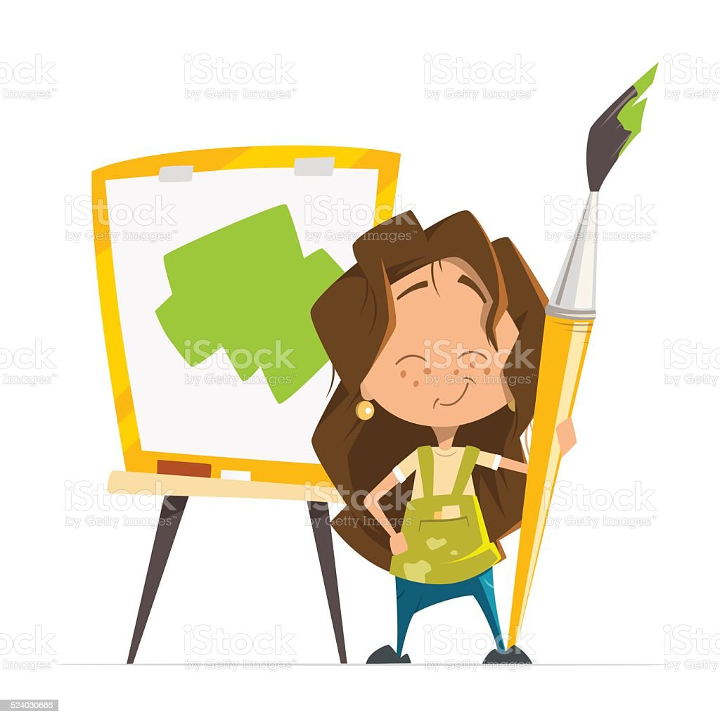 Cute little girl painting picture holding brush easel vector art illustration