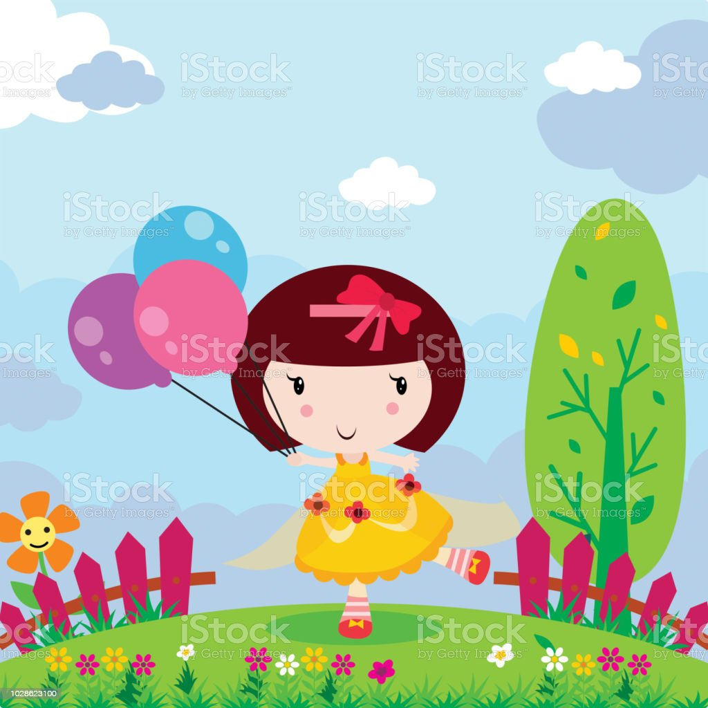 100 Pictures Cartoon Characters cute little girl playing a heartshaped balloon in the garden cartoon  character stock illustration - download image now