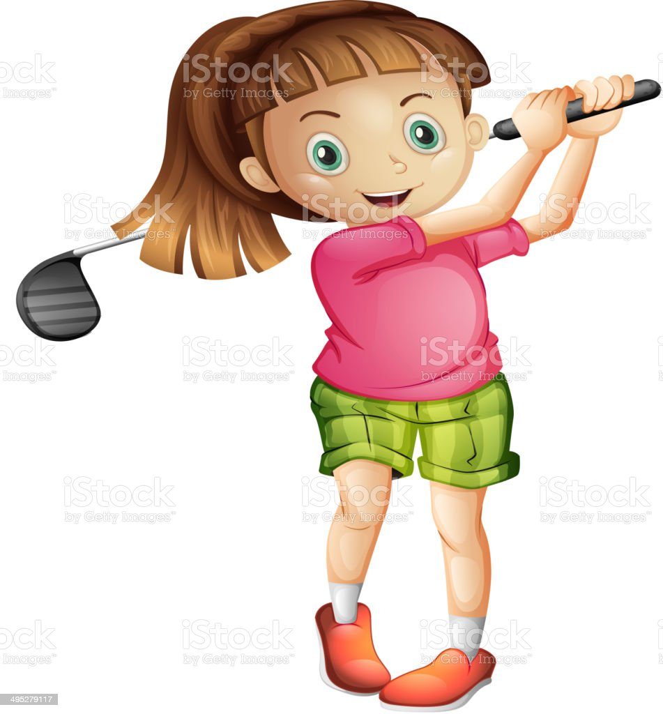 Cute little girl playing golf vector art illustration