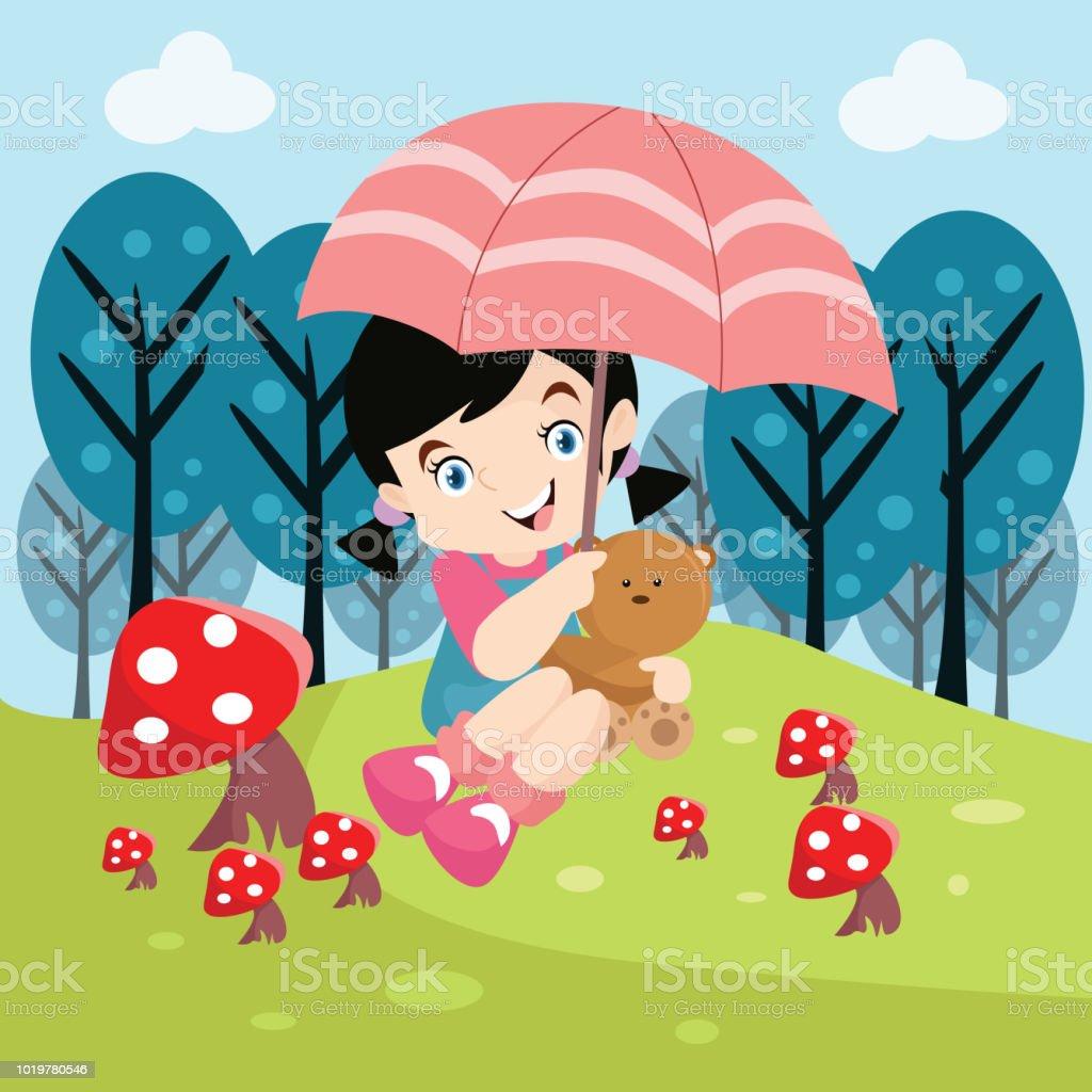 Mignonne Petite Fille Jouant Avec Son Ours En Peluche Et Un
