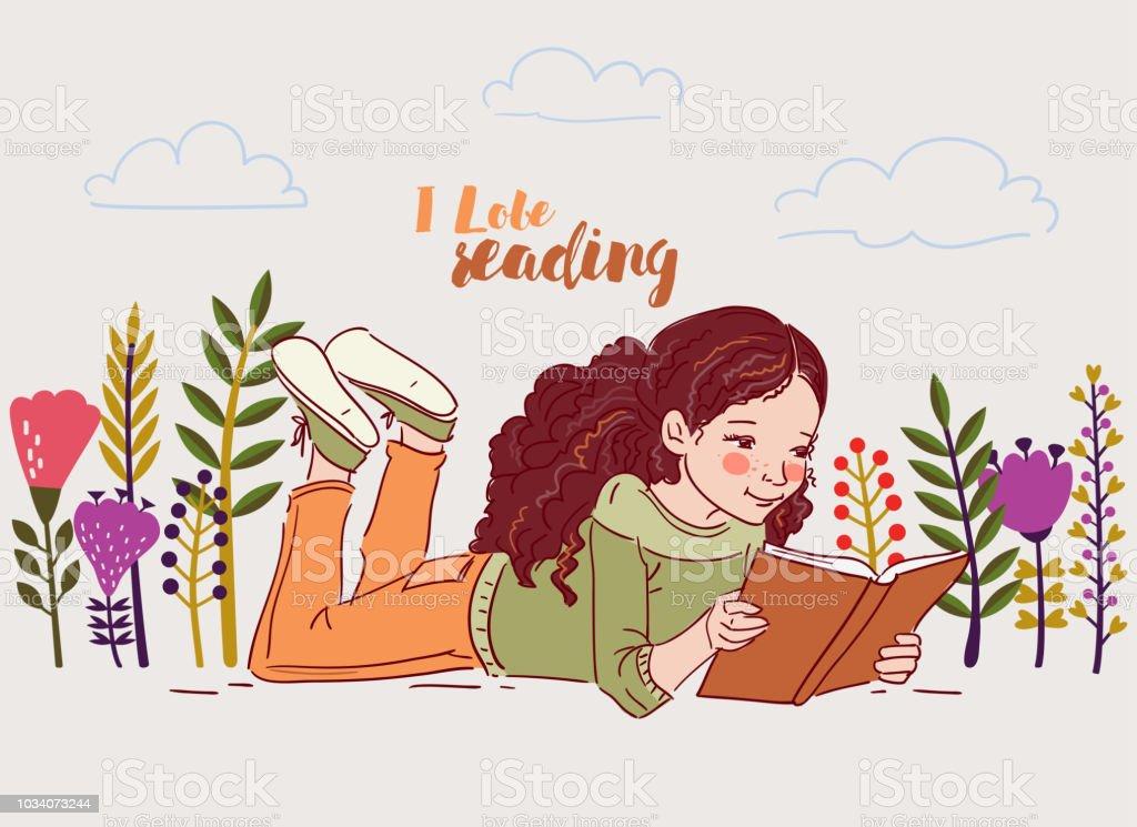 Mignonne Petite Fille Lisant Un Livre Dans Le Jardin Vecteurs Libres De Droits Et Plus D Images Vectorielles De 4 5 Ans