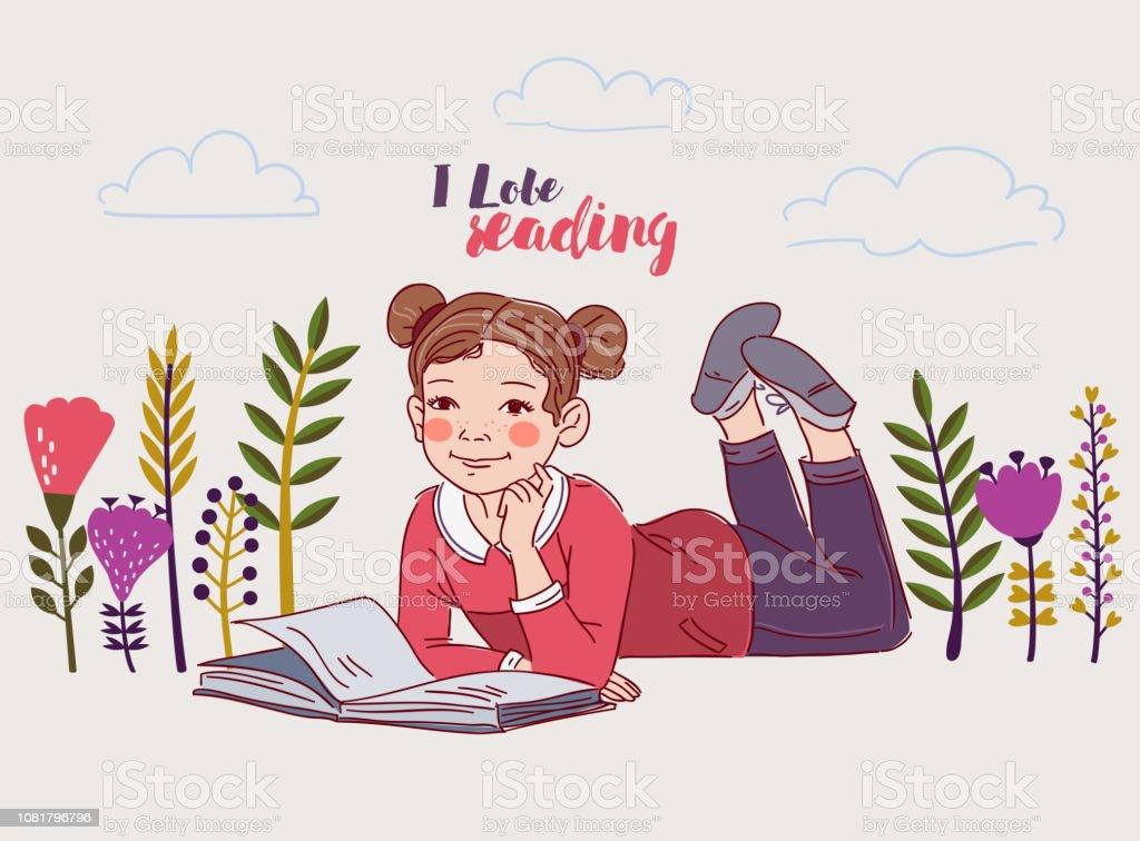Mignonne Petite Fille Lisant Un Livre Dans Le Jardin