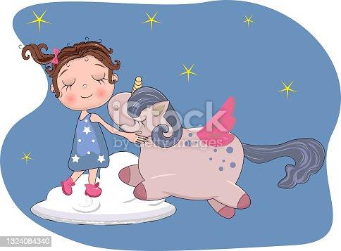 istock cute little girl sleep and hug unicorn on the soft white cloud on blue sky golden stars, adorable baby cartoon background. lovely greeting card. vector illustration 1324084340