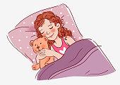 Cute little girl sleeping with Teddy Bear