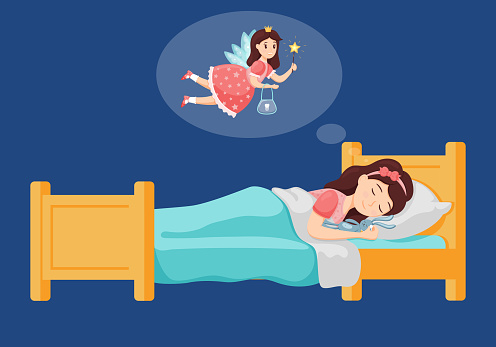 A cute little girl sleeps in bed and holds a fallen tooth in her hand and has a dream about the Princess tooth fairy. Sleeping hugging a toy. Vector illustration for children. Flat style