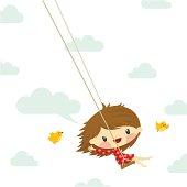 cute little girl swinging bird sky illustration vector twitter