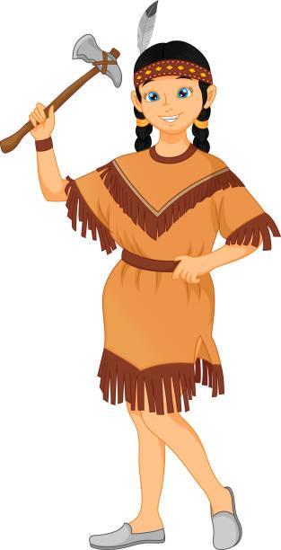tribos indígenas nativos americanos de menina bonitinha vestindo traje - ilustração de arte em vetor