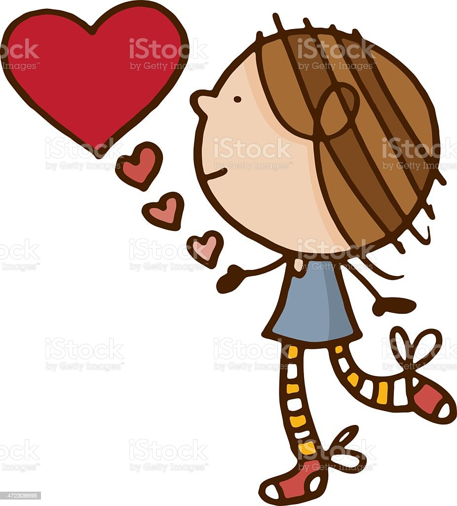 Cute little girl with a large red love heart royalty-free stock vector art