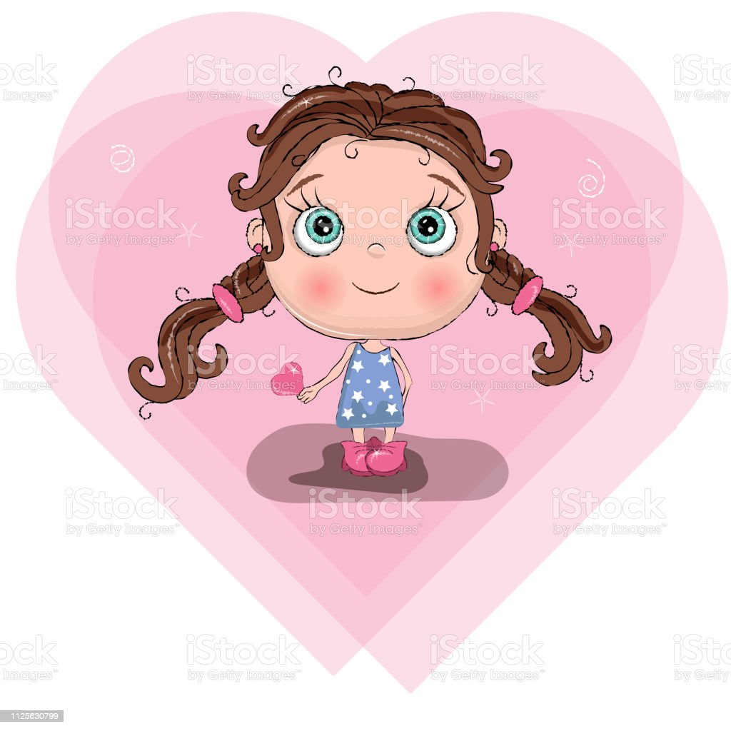 Jolie Petite Fille Avec La Robe Bleue Tenir Hart Arrièreplan
