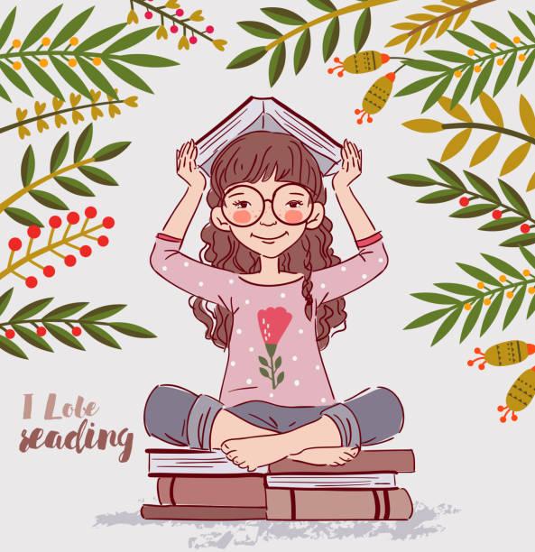 illustrations, cliparts, dessins animés et icônes de mignonne, petit fille avec livre dans le jardin - nuage 6