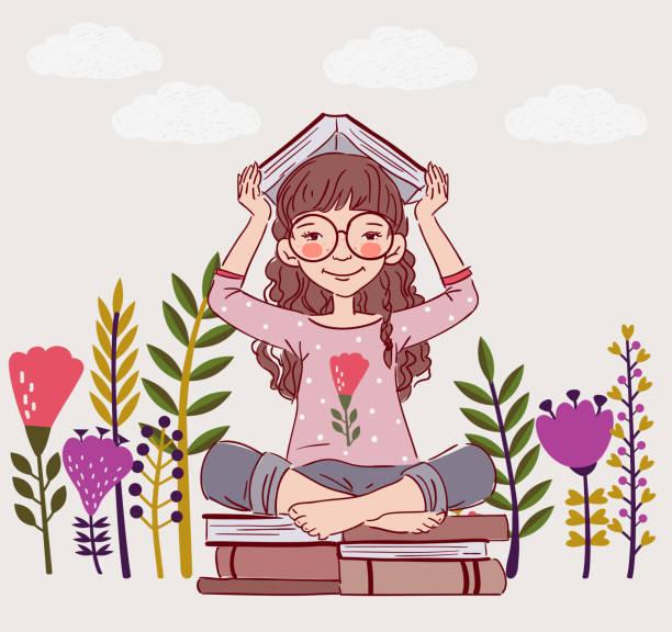 stockillustraties, clipart, cartoons en iconen met schattige, kleine meisje met boek in de tuin - mini amusementpark