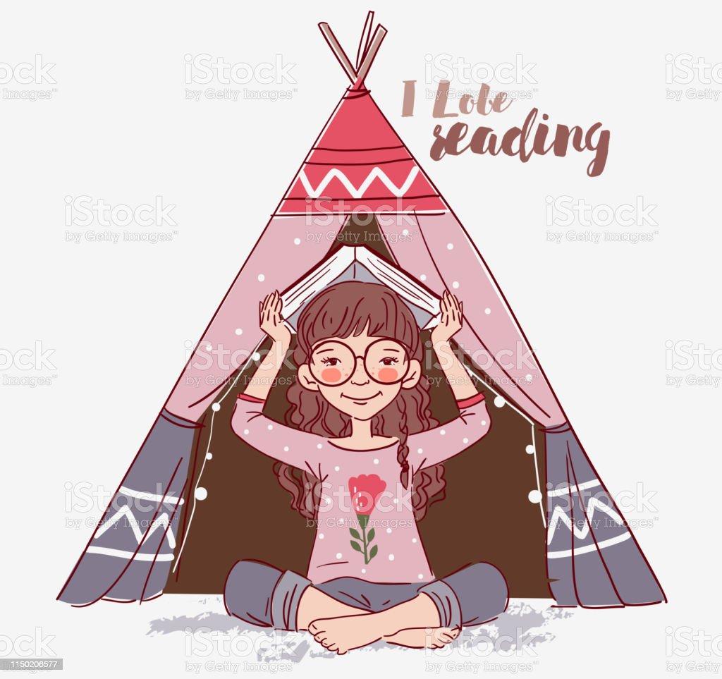 Mignonne Petite Fille Avec Le Livre Vecteurs Libres De