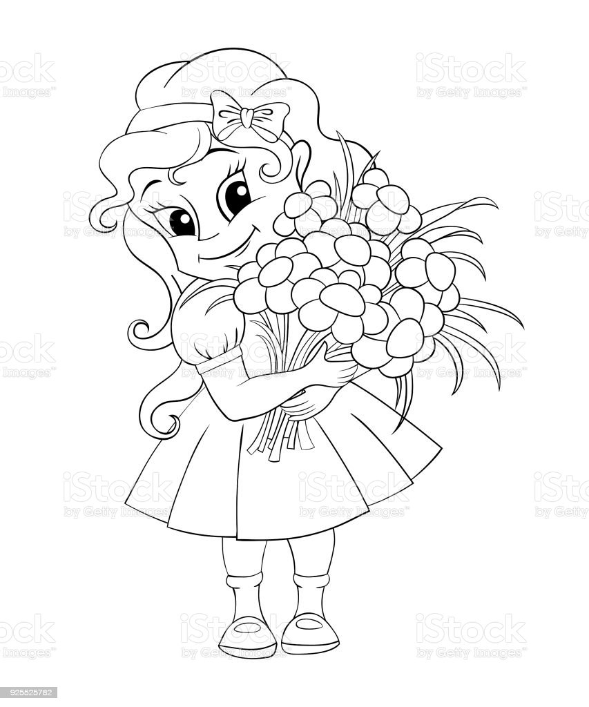 Ilustración de Linda Niña Con Ramo De Flores Ilustración De Vector ...