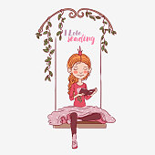 Cute little girl with crown reading a book on swing.   Beautiful princess