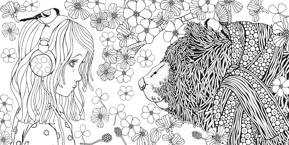 Cute little girl with headphones and Bear in knitted scarf. Coloring book page for adult and children. Black and white.