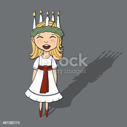 istock Cute little girl with wreath and candle crown, Saint Lucia 491292174