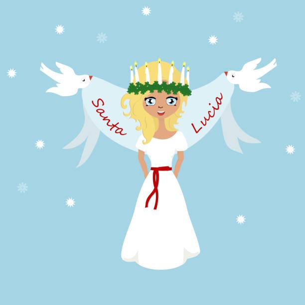 bildbanksillustrationer, clip art samt tecknat material och ikoner med söt liten flicka med krans och ljus krona, saint lucia. - lucia
