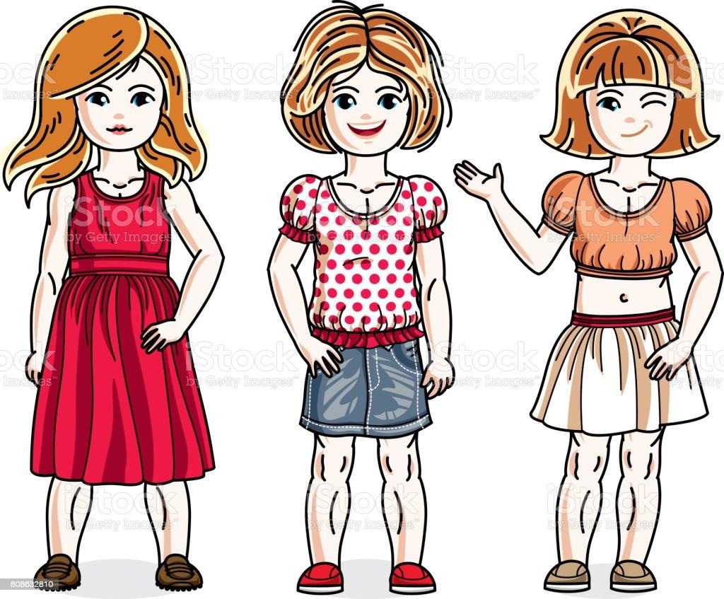 かわいい女の子がおしゃれなカジュアル服で立っていますベクター子供の