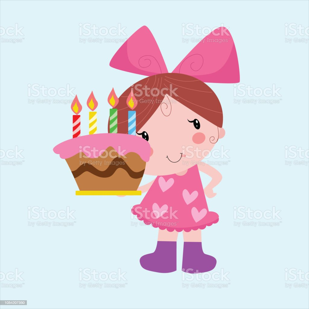 Cute Little Girls With Birthday Cake Cartoon Character