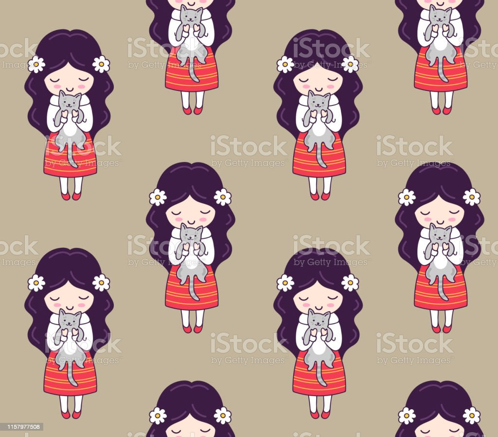 Cute Little Girls With Cats Seamless Pattern For Textile