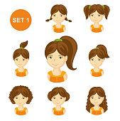 Set of children faces. Vector illustration.