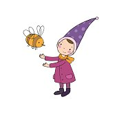 Cute little gnome and a bumblebee. isolated objects on white background.