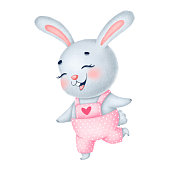 Illustration of a cute little gray bunny girl in pink overalls with a red heart on a white background