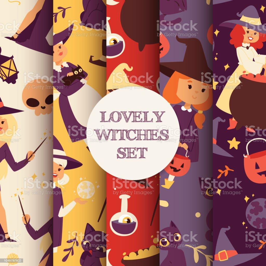 mignon petit halloween fille witchs avec balai de dessin animé