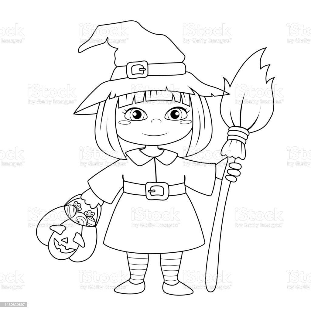 Sevimli Kucuk Halloween Cadi Boyama Kitabi Icin Siyah Ve Beyaz